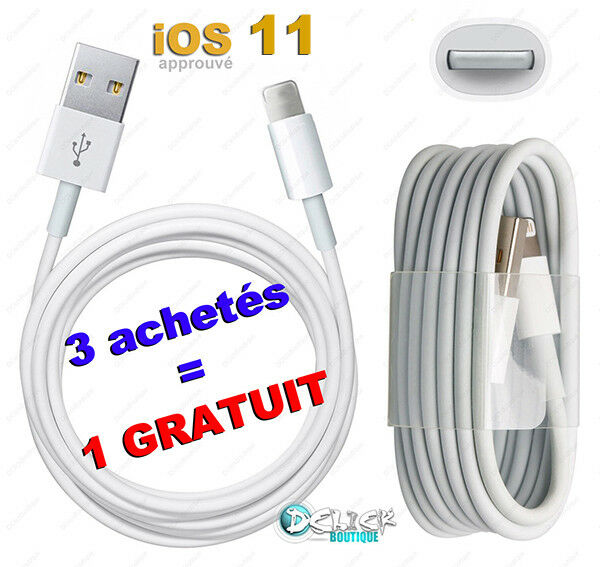 CABLE iPHONE X 8 7 6 SE 5 PLUS CHARGEUR CHARGER iPAD 4/Air/mini iTOUCH NANO 7