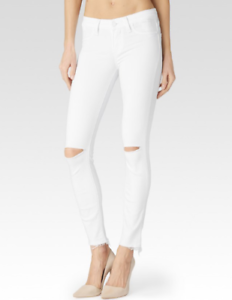 Paige Verdugo Crop White Raw Hem Destructed Skinny Jeans Size 30  NWT
