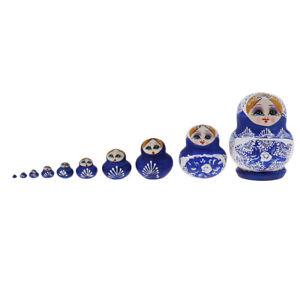 10pcs Kit Blue Girls Russian Nesting Doll Babushka Matryoshka Stacking Dolls