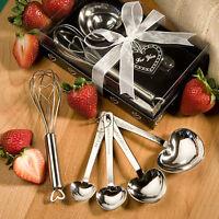 10 - Heart Design Measuring Spoon & Whisk Favor Sets - Wedding Favors