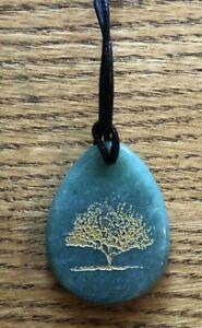 Green Aventurine Pendant w/Tree of Life Pattern!