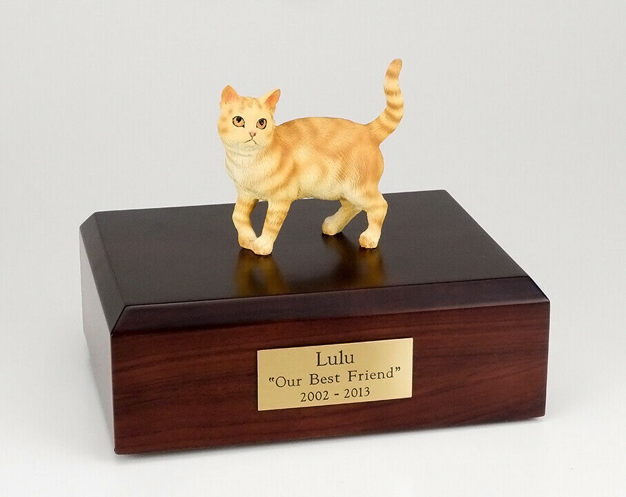 Tabby Red Cat Figurine Pet Cremation Urn Available 3 Different colors & 4 Sizes