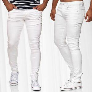 Herren-Jeans-Hose-Klassisch-5-Pocket-Style-Skinny-Pants-Slim-Fit-Weiss-Roehrenjean