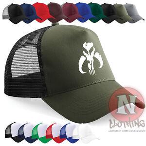 bbda5a69893 Boba Fett Mandalorian cap Half mesh retro trucker baseball hat Star ...