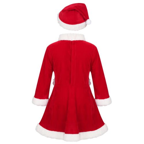 Kid Girls Boys Xmas Costume Dress Hat Outfit Santa Claus Suit Holiday Cosplay