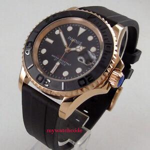 3119c95ea 41mm PARNIS black dial Sapphire glass golden case miyota automatic ...