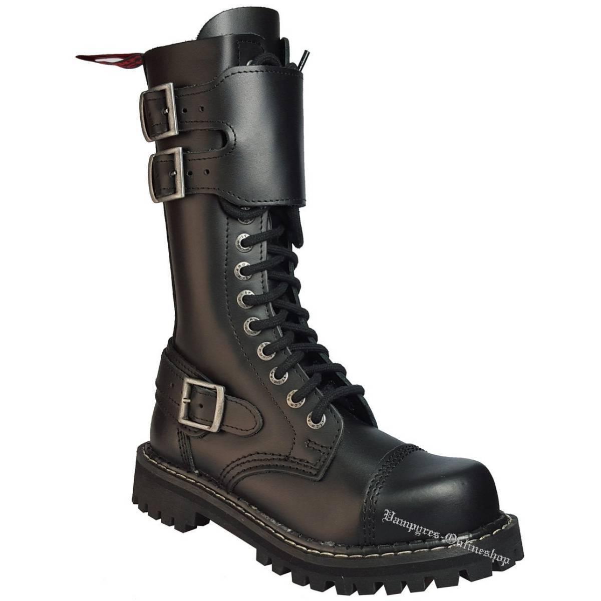 Angry Itch 14-Loch Stiefel Shield Reißverschluss Schwarz Rangers Stiefel 14-Loch Stahlkappen 8c320f