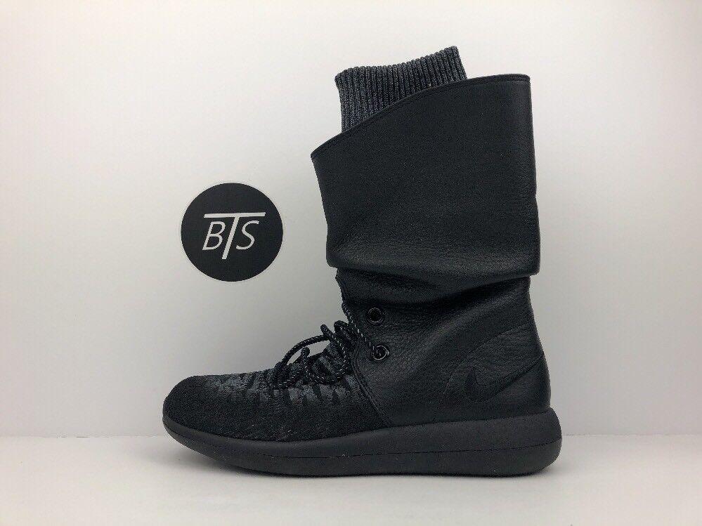 Women's Nike Roshe Two HI Flyknit Size-6 Triple Black BOOT (861708 001)