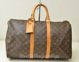Louis-Vuitton-LV-Keepall-45-Travel-Gym-Boston-Unisex-Bag-Used-Authentic