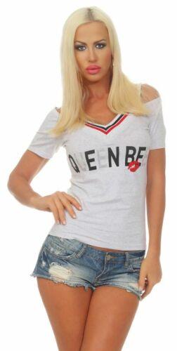 10093 Damen Shirt Kurzarm V-Ausschnitt Schulterfrei Off-Shoulder Sportsstyle
