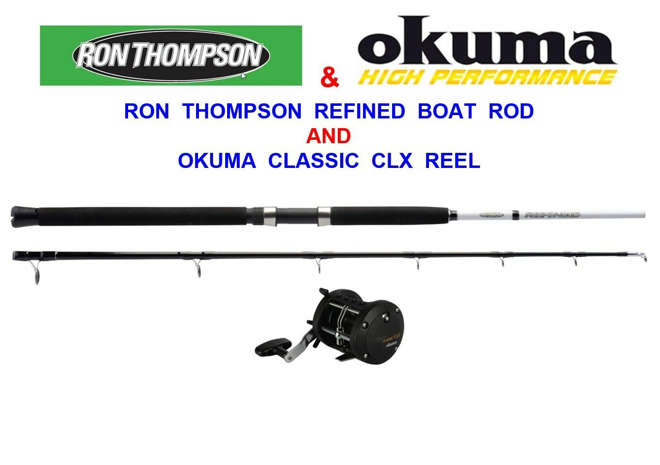 RON THOMSON 20-30lb 6ft 2pc BOAT ROD OKUMA CLX 200La MULTIPLIER REEL