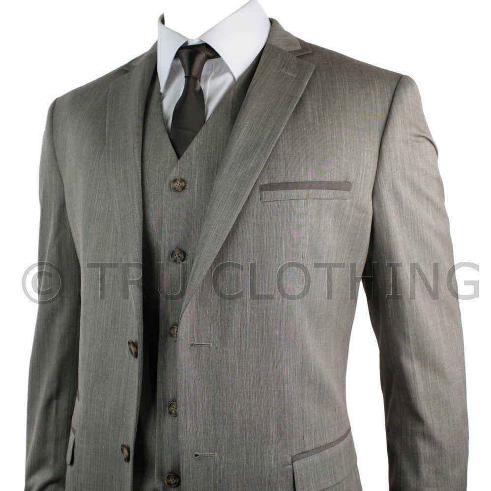 Herren Light Braun Beige 3 Piece Suit Office Wedding Party Wear TailoROT Fit