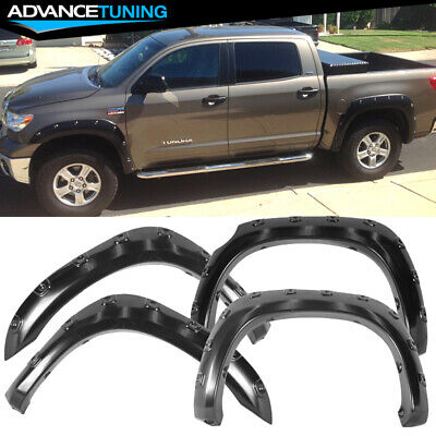 For 07 13 Toyota Tundra Pocket Style Extended Fender Flare Smooth Abs Black Ebay