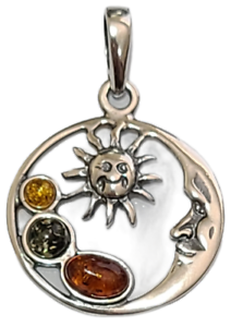 Crescent Moon with Sun Pendant Round 925 Sterling Silver Multi Color Amber # 56