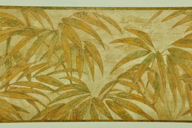 Tropical Golden Leaves on Beige Wallpaper Border S5219B