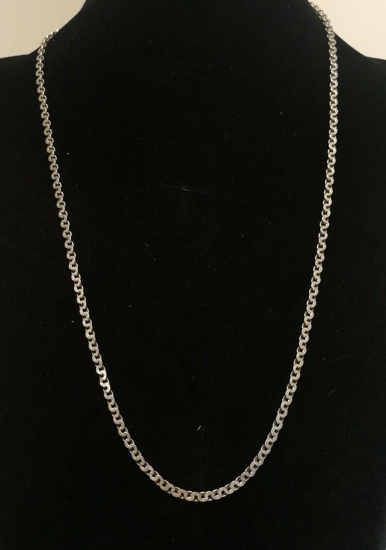 Collier ou Sautoir Ancien En silver Massif,  61 cm