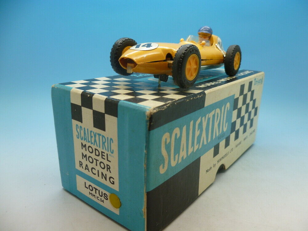 Scalextric C54 Lotus in Yellow large head driver, very clean car and boxed