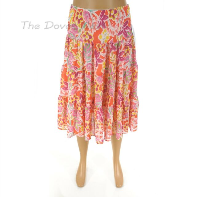 14c1f40be3 CHAPS by Ralph Lauren PETITE X-LARGE Chiffon TIERED FLORAL Multi-Color SKIRT  PXL