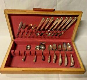 Vintage-1847-W-M-Rogers-und-Sohn-International-Silver-Daffodil-54-Silberbesteck-Set