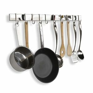Details about Pot And Pan Organizer Wall Mount Rack Rail System Hanging  Kitchen Hook Holder
