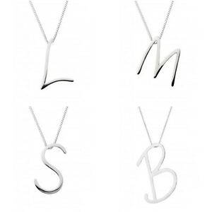 Silver initial pendant necklace large script style 925 sterling image is loading silver initial pendant necklace large script style 925 aloadofball Images