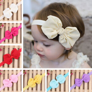 FT Solid Color Bowknot Cloth Elastic Hairband Baby Girl Headwear Headband Decor