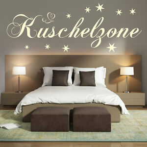 wandtattoo schlafzimmer wand tattoo kuschelzone sterne kinderzimmer deko w 232 ebay. Black Bedroom Furniture Sets. Home Design Ideas