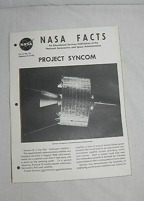 2019 Latest Design Vtg Original Nasa Facts Educational Publication Project Syncom Vol. Iii No. 14 Quality And Quantity Assured