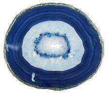 """Large Blue Agate Slab 4-5"""" Geode Slice + Stand Crystal Mineral Gemstone"""