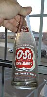 #B1980~Vintage Clear Glass Red White ACL O-SO Beverages Soda Bottle 10 OZ**
