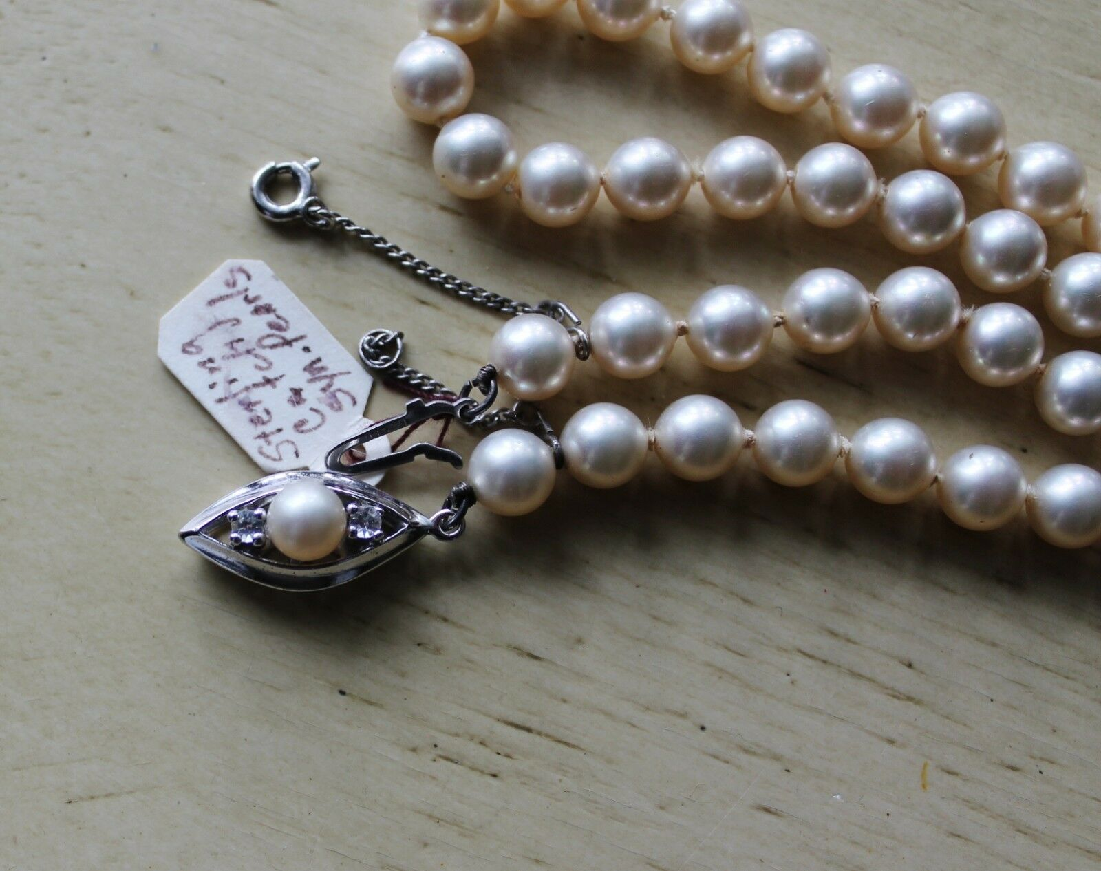 Vintage Synthetic Pearl Bead Necklace Sterling Si… - image 2
