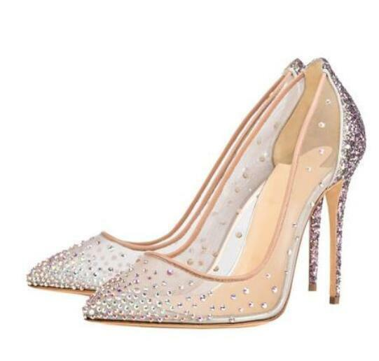 Wedding femmes Sequins Rhinestones Mesh Lace Pointed Toe High Heels Stilettos