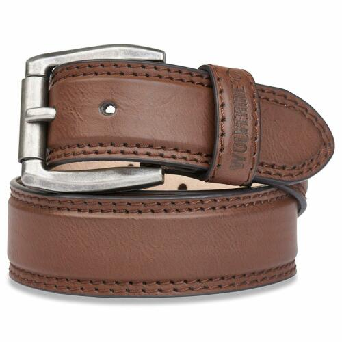 Wolverine Men/'s Double Topstitched Leather Belt Roller Buckle