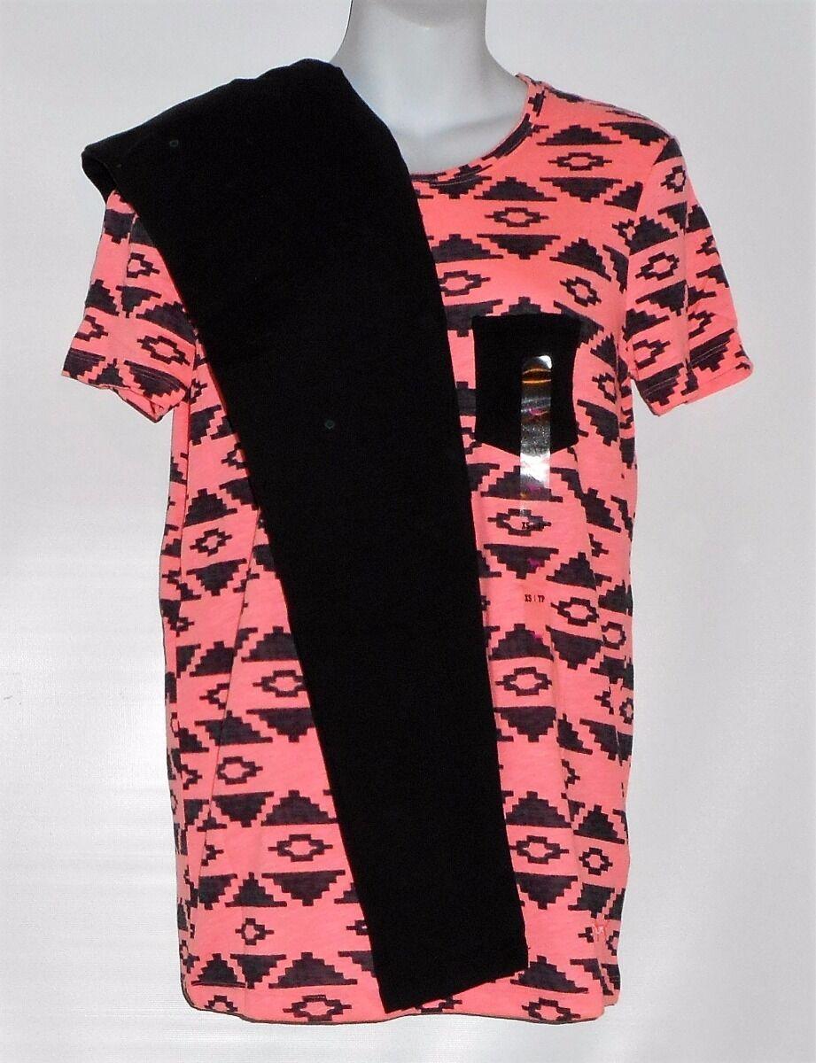 Victoria's Secret Rosa Short Sleeve Aztec Pocket T-Shirt & Fashion Leggings XS