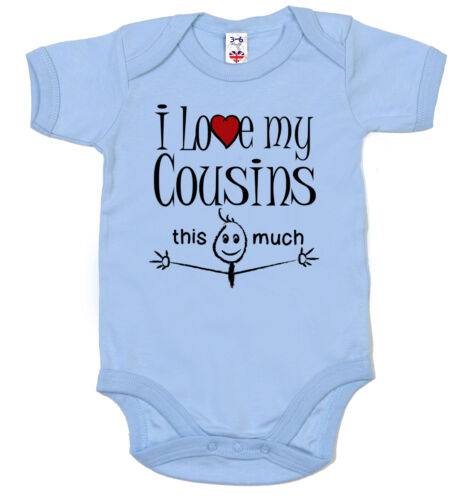 """Cousins this much/"""" Babygrow Vest Funny Baby Bodysuit /""""I Love My Cousin"""
