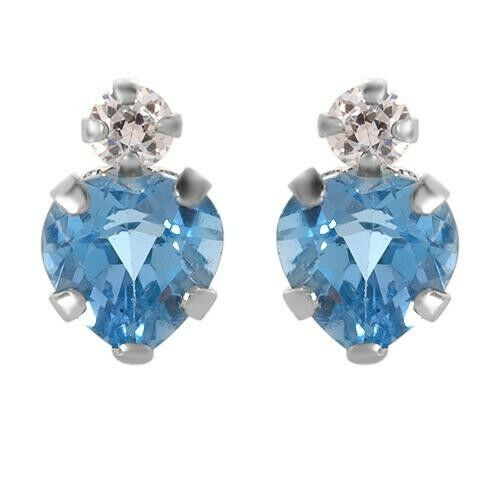 Tiny Heart Stud Earrings W//0.75ctw BlueTopaz and CZ in White Gold