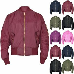 2931e2e9 Details about Girls Boys Kids Plain MA1 Quilted Front Button Pockets Zipped  Up Bomber Jacket