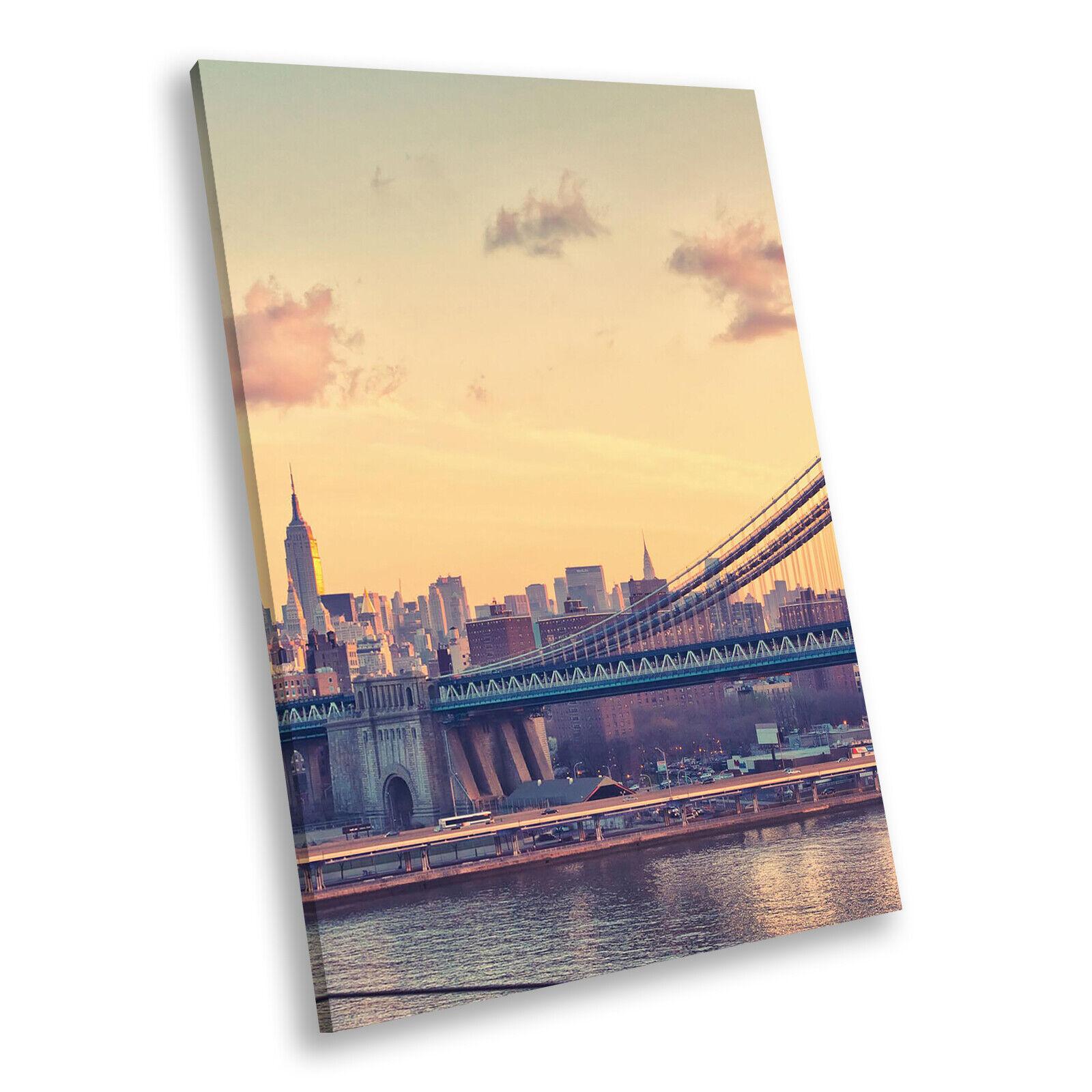 New York Bridge Retro Cool Portrait Scenic Canvas Wall Art Large Picture Prints