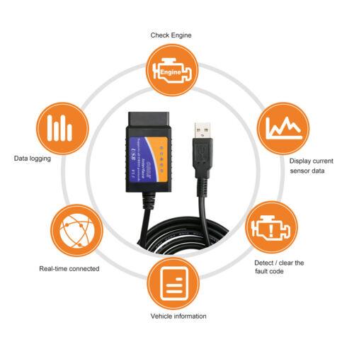 New ELM327 USB V1.5 OBDII Car Interface Diagnostic Scanner Tool Code Reader