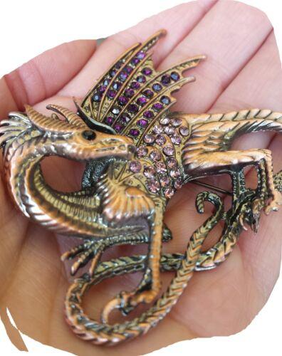 xxl steampunk brosche dragon bling nugoth gothic drachen strass braut rocker