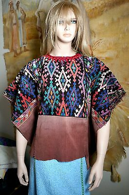 Vintage Guatemalan Huipil Blouse Hand Embroidered Hand Woven Fabric One Size