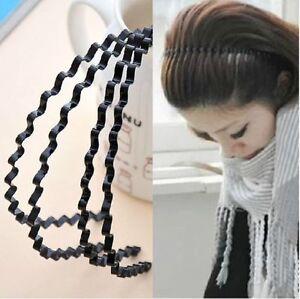 2 PC Cool Wave capelli fascia unisex Lady Nero Cerchietto in metallo SPORT Hairband w1e