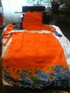 Polynesian-Radhiki-Hawaii-Tiki-Isle-India-Sarong-Ruched-Top-Orange-Blue-Fabric