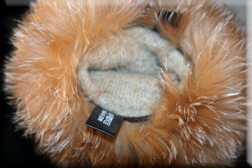 Brand New Brown Lambskin Leather Gloves Crystal Fox Fur Trim Cashmere Lining