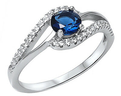 .925 Sterling Silver Round Blue Sapphire CZ Twist Accent Ring RC913