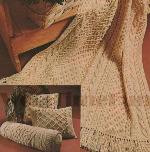 Bolster /& 2 Cushions. Vintage Knitting Pattern Aran//Cable Afghan//Blanket
