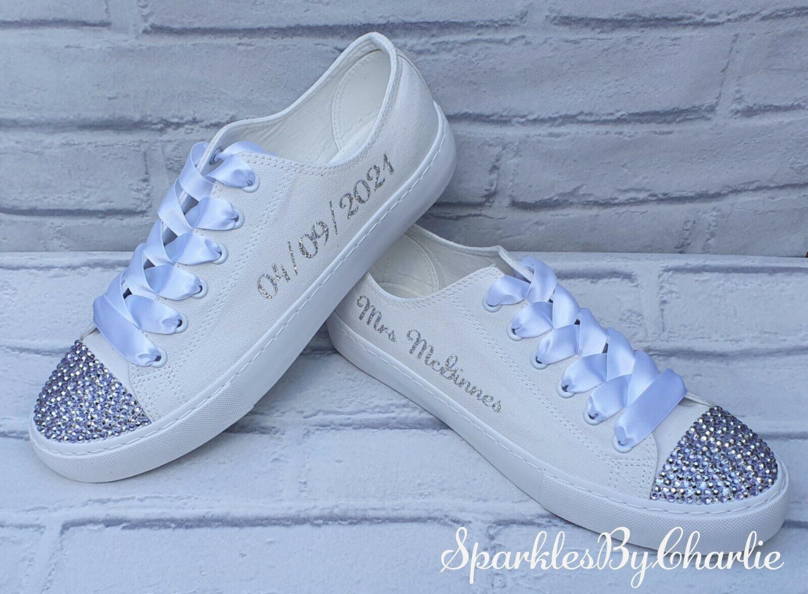 Custom Wedding Trainers, Mono White Personalised Wedding Shoes, Bridal Trainers