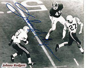 Johnny Rodgers signed Nebraska Cornhuskers Vintage B&W ...