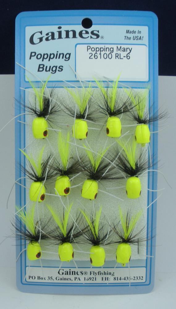 Gaines 26100RL6 Popping Mary Bug w Legs Hook Dimensione 6 Popper Card of 12 21399