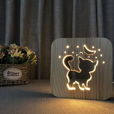 3D Wooden USB Night Light Carved Hollow Creative Table Lamp Decoration For Gifts